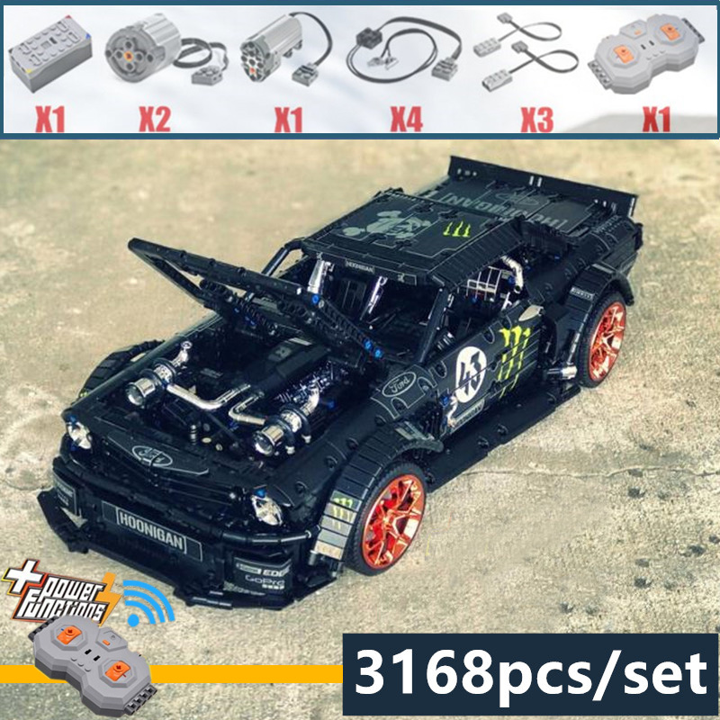 New 1965 Ford Mustang Hoonicorn Racing Car fit Technic MOC 22970 compatible 20102 building block bricks