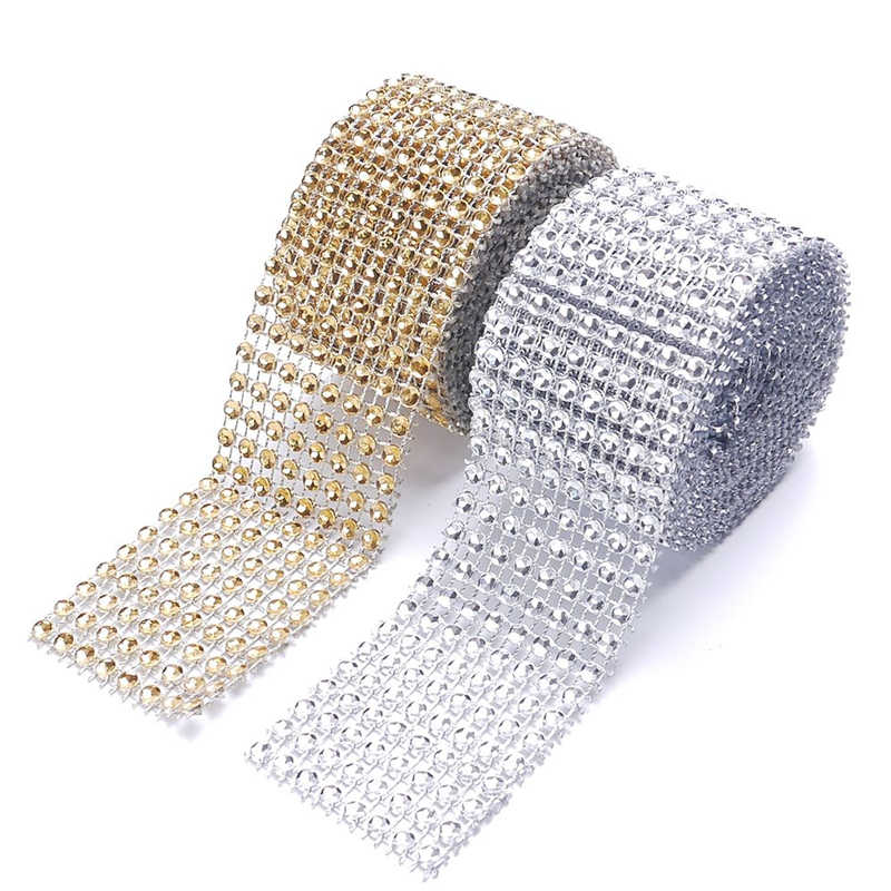 4Cm * 2M Bling Diamond Mesh Wrap Lint Silver Rhinestone Mesh Roll Home Party Decoratie Mesh Roll Tape tulle Crystal Tape Craft