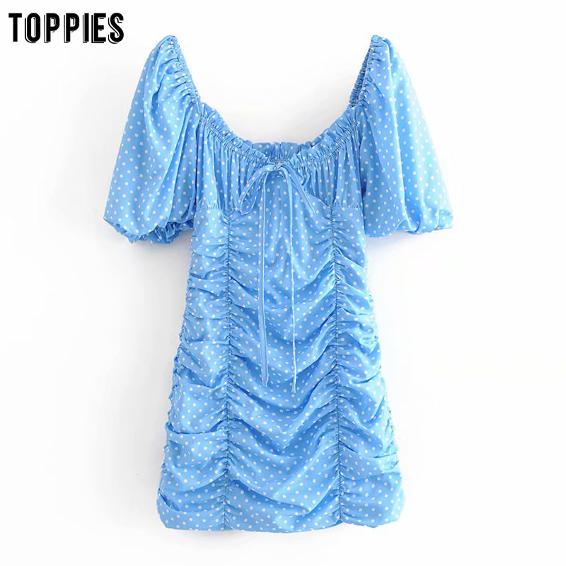 toppies blue polka dot pleated mini dress slim women dress summer french style sexy puff sleeve square collar vestidos