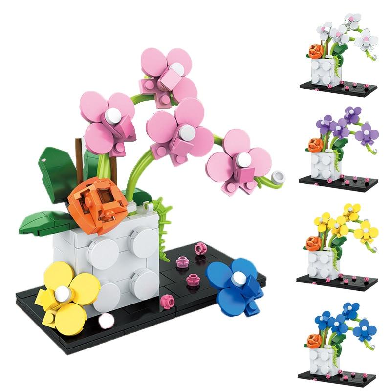 267Pcs Bonsai 5in 1 Phalaenopsis Building Blocks Bricks Model MOC City Plants Flowers Aarrangement Accessories DIY Toys Kids
