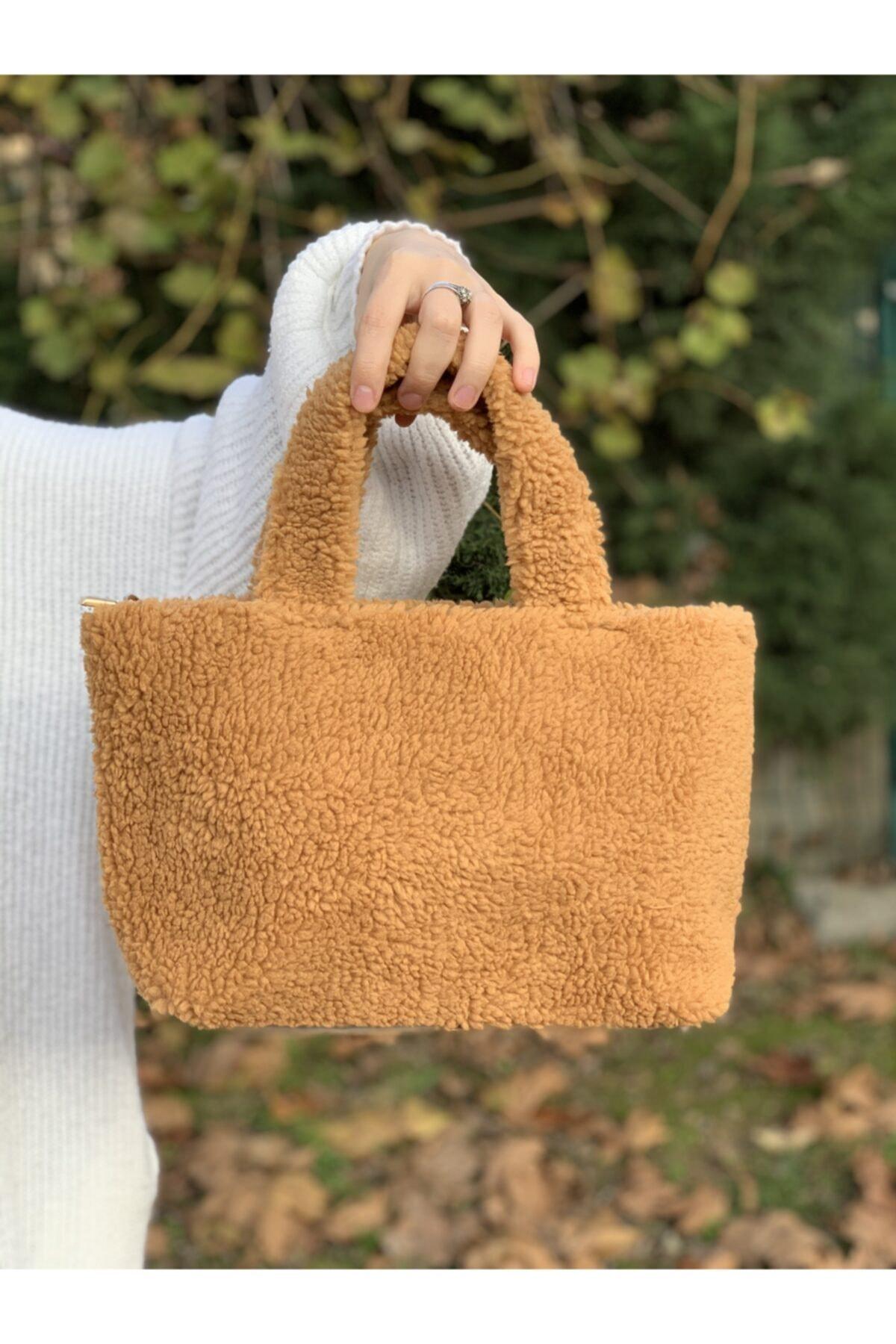 Women Mustard Plush Shoulder Bag Handbag Bag Accessory Pouch Vıntage Hermes Girl Teenager Casual Special Pochette Wallet Clutch