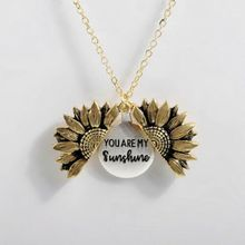 цена на Chic Necklace For Women Custom Letter Print You are my sunshine Open Locket Sunflower Pendant Necklace