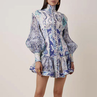 New printed women s long sleeve mini dress collar of fund of lantern a line dress girl