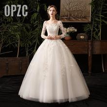 35% indirim yeni sonbahar uzun kollu düğün elbisesi zarif kraliyet tren dantel nakış prenses Vintage artı boyutu gelinlikler