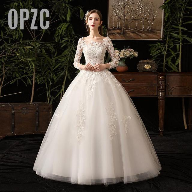 35% rabat nowa jesienna suknia ślubna z długim rękawem Elelgant królewski tren koronkowy haft księżniczka Vintage Plus Szie suknie ślubne