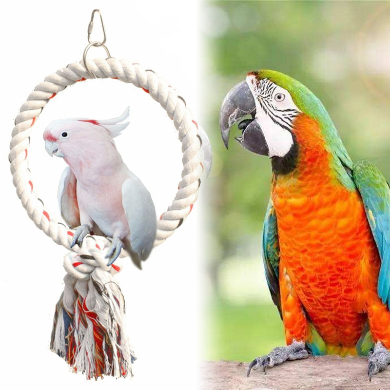 Pet Parrot Birds Cage Toy Cotton Rope Circle Ring Stand Chew Bite Hanging Swing