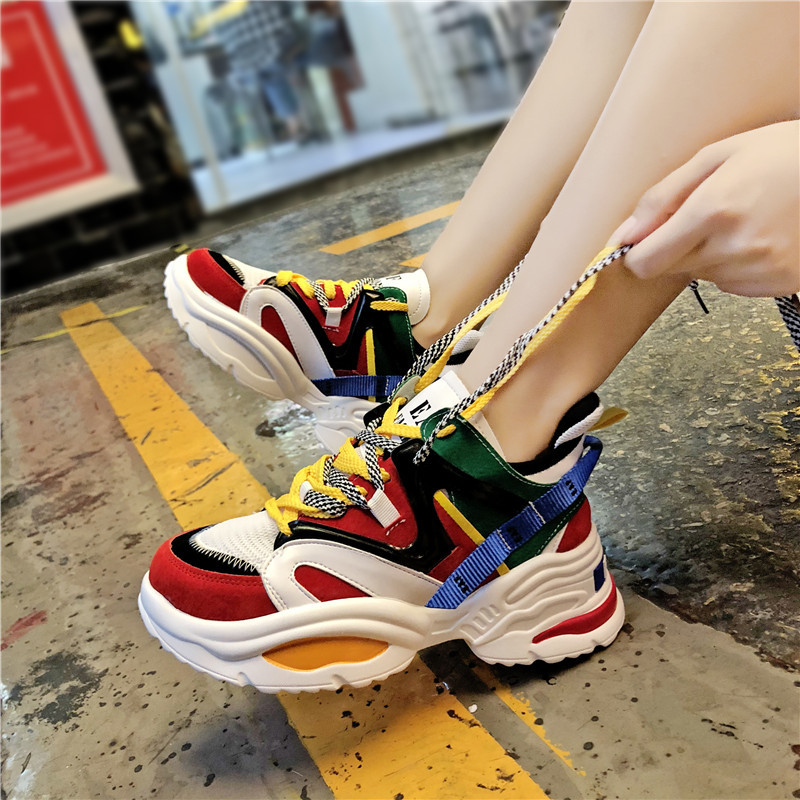 Women Running Shoes Air cushion shoes Red White Sneakers Female Outdoor Sport Shoes Athletic High Heel Cushioning Footwear