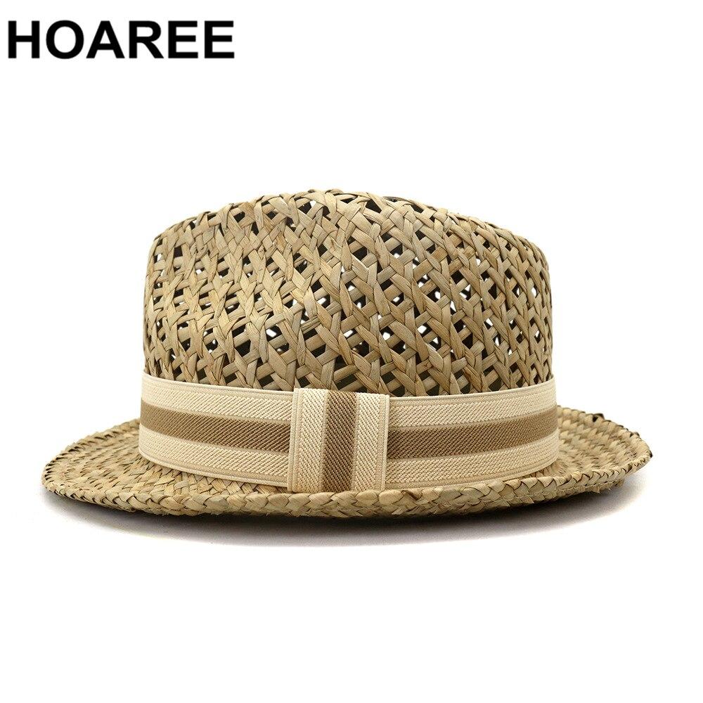 HOAREE Men Women Straw Sun Hat British Style Trilby Hat Summer Beach Hand Knitting Hollow Out Casual Unisex Porkpie Jazz Hat