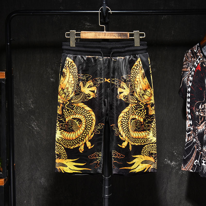 2020 New Shorts Men's Summer Ice Silk Dragon Print Korean Style Trend Youth All Matching Five-point Pants 7xl Xl Beach Pants