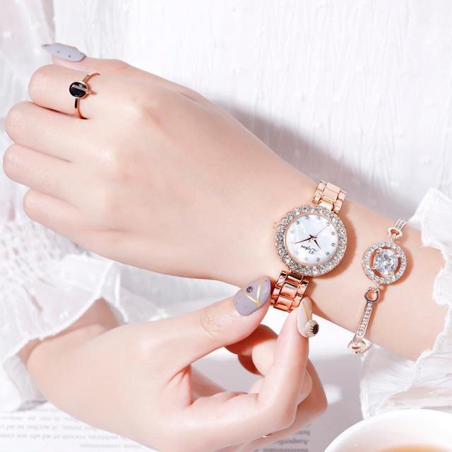 Luxury Bracelet Watches Set For Women Fashion Geometric Bangle Quartz Clock Ladies Wrist Watch Zegarek Damski 2