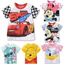 Verão meninas meninos carros cartoon tshirt mickey minnie mouse pato donald lilo ponto manga curta crianças camiseta roupas infantis