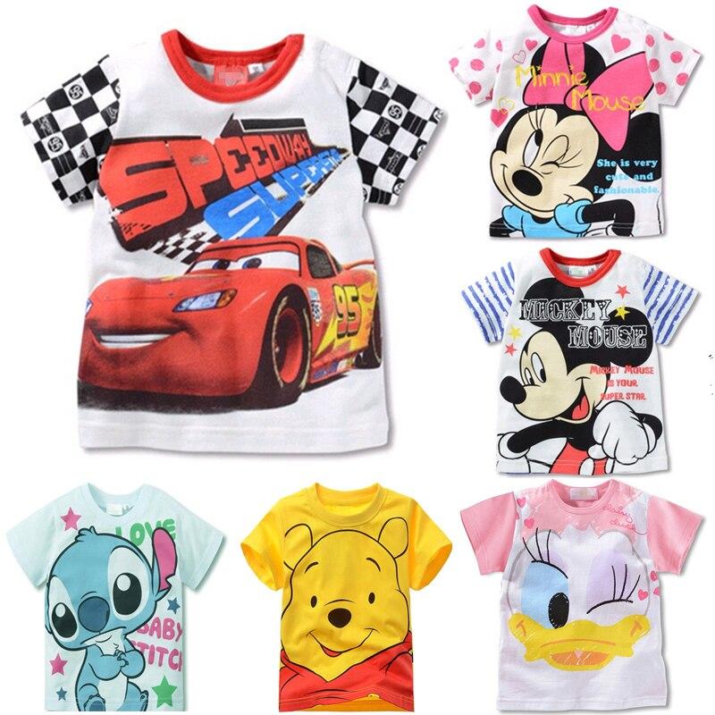 Summer Girls Boys Cars Cartoon TShirt Mickey Minnie Mouse Donald Duck Lilo Stitch Short Sleeve Kids T-shirt Children's Clothes