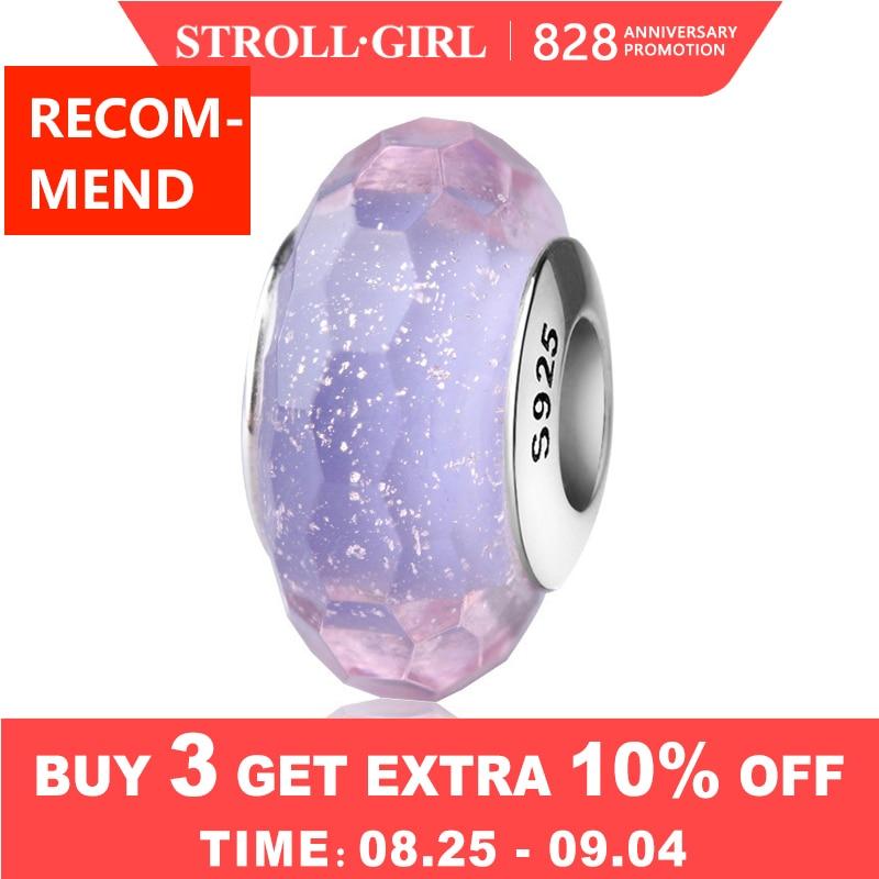 Strollgirl Bracelet Diy Charms Jewelry-Making Beads Purple Sparkling Murano Glass 925-Silver