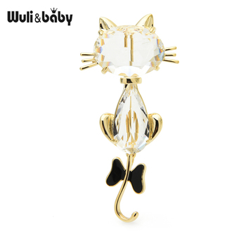 Wuli&baby Beauty White Crystal Cat Brooches Women Black Red Enamel Bowknot Cat Animal Pet  Casual Office Brooch Pins Gifts crystal enamel green gecko brooches lizard brooch pins animal corsage chameleon scarf buckle
