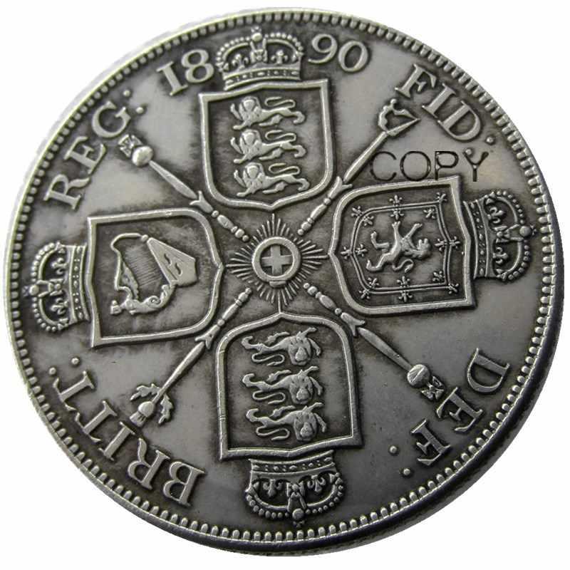 Uf (04) Gran Bretagna, Victoria Doppio Florin 1890 Argento Placcato Copia Moneta