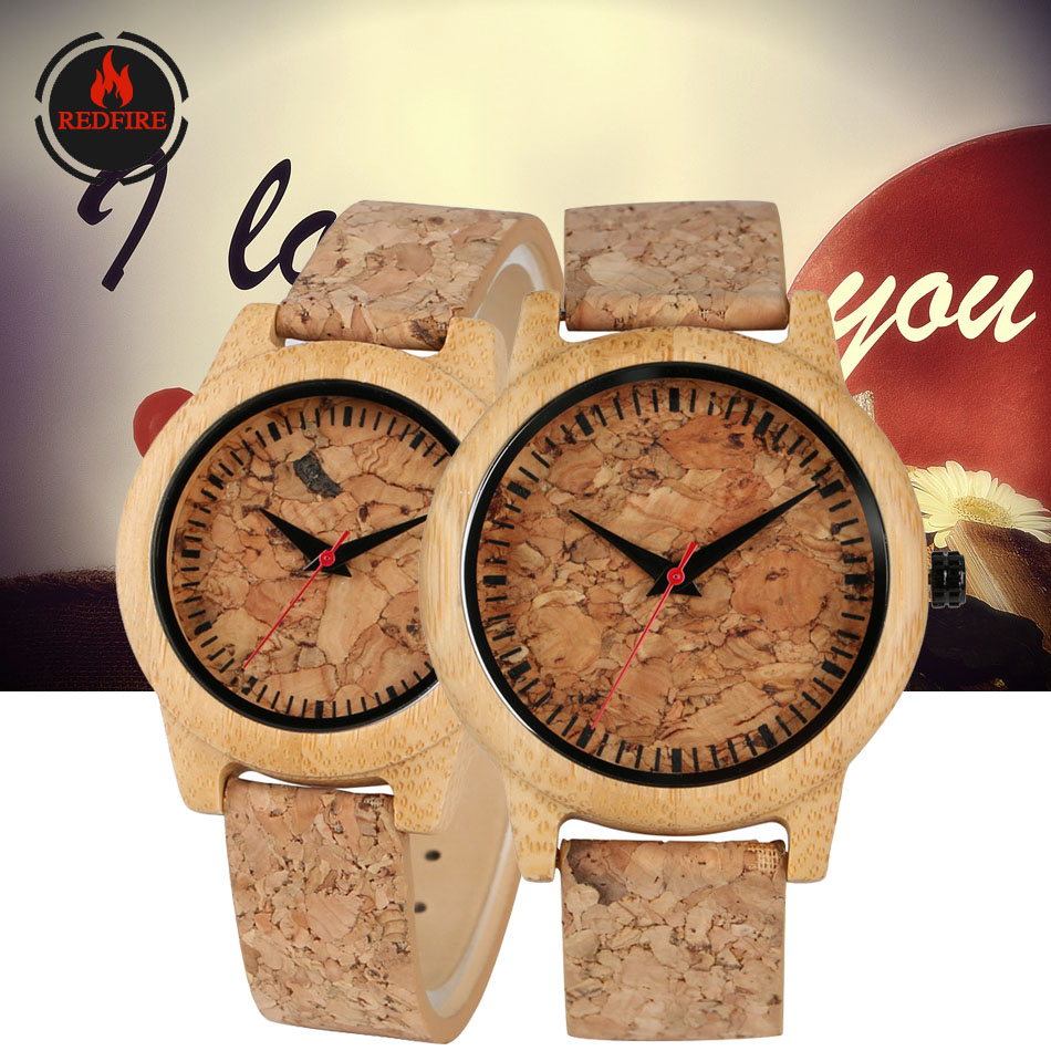 REDFIRE Creative Corkwood Design Couple Watches Quartz Leather Wristwatch Custom Engraving Anniversary/Wedding Lovers Watches