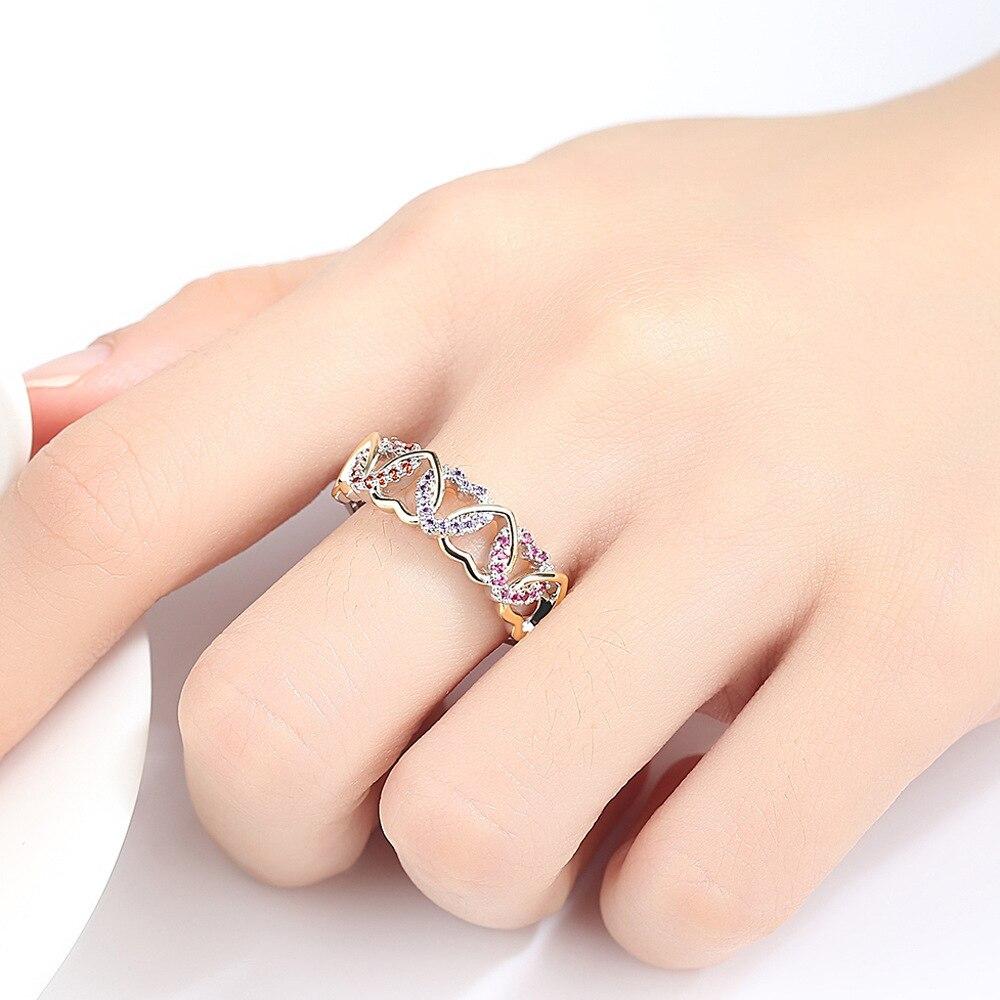 LS1345 Populaire twee kleur ring kleur micro inlay gewikkeld hartvormige paar ring - 4