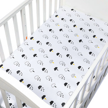 цена на 100% Cotton Crib Fitted Sheet Soft Breathable Baby Bed Mattress Cover Cartoon Newborn Bedding For Cot Size 130*70cm