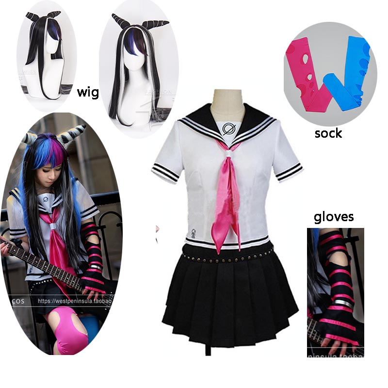 Danganronpa Dangan-Ronpa Ibuki Mioda Deluxe Dress Cosplay Costume Customize With Stocking/ Glove Halloween Cosplay Costume Wig