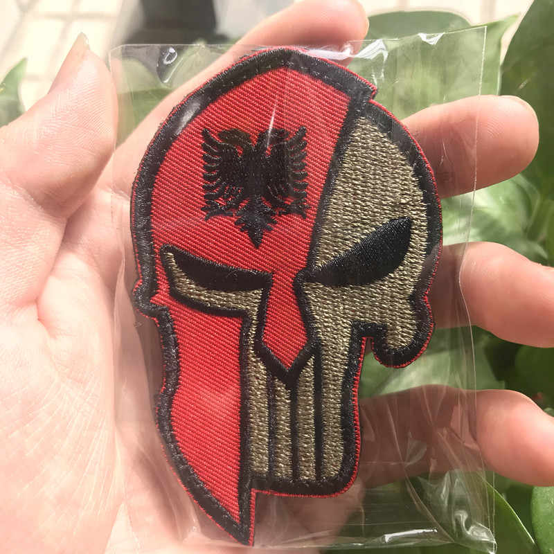 Drapeau National albanais patchs brodés punisseur tactique militaire casque spartiate Molon Labe badges
