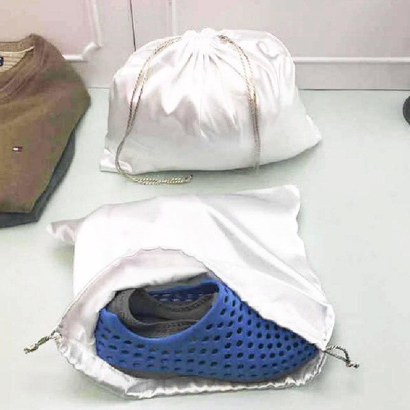 2020 Trendy Faux Satin Slik Solid Silver Storage Drawstring Packaging Bag Beam Pocket Anti-dust Bag Drawstring Bag Wholesale