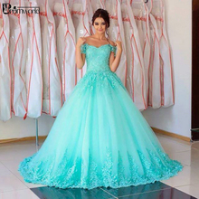 Turquoise Quinceanera Dresses 2020 Tulle Off The Shoulder Appliques Lace Ball Go