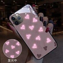 Coque lumineuse en verre trempé pour iPhone, compatible modèles 6, 6s, 7, 8, 11 Pro Max, XR, X, XS MAX, 12, XR