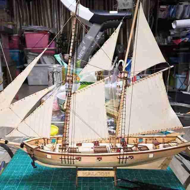 1 Set Sailboat Toys Assembling Building Kits Ship Model WoodenSailing Model Assembled Wooden Kit DIY Wood Crafts