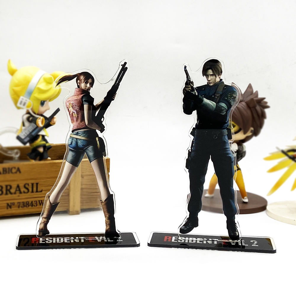 Resident 2 Leon Claire Acrylic Evil Stand Figure Model Plate Holder Cake Topper Anime Japanese Video Games