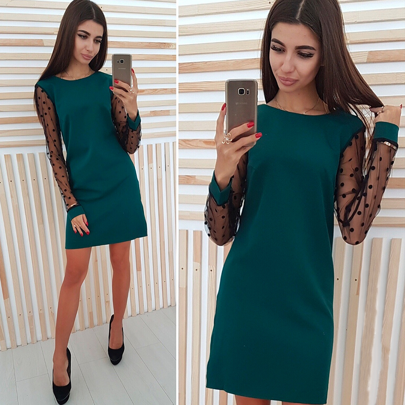 Women <font><b>Sexy</b></font> <font><b>Lace</b></font> Patchwork <font><b>Party</b></font> <font><b>Dress</b></font> Ladies Long Sleeve o Neck Elegant <font><b>Mini</b></font> <font><b>Dress</b></font> 2019 <font><b>Female</b></font> Straight Slim <font><b>Dress</b></font> image