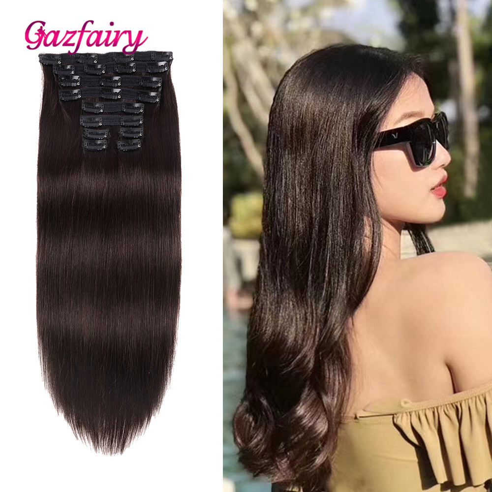 Gazfairy 14'' 18'' 10pcs/set Silky Straight Remy Hair Clip In Human Hair Extension Full Head Double Weft Pure Piano Ombre Color