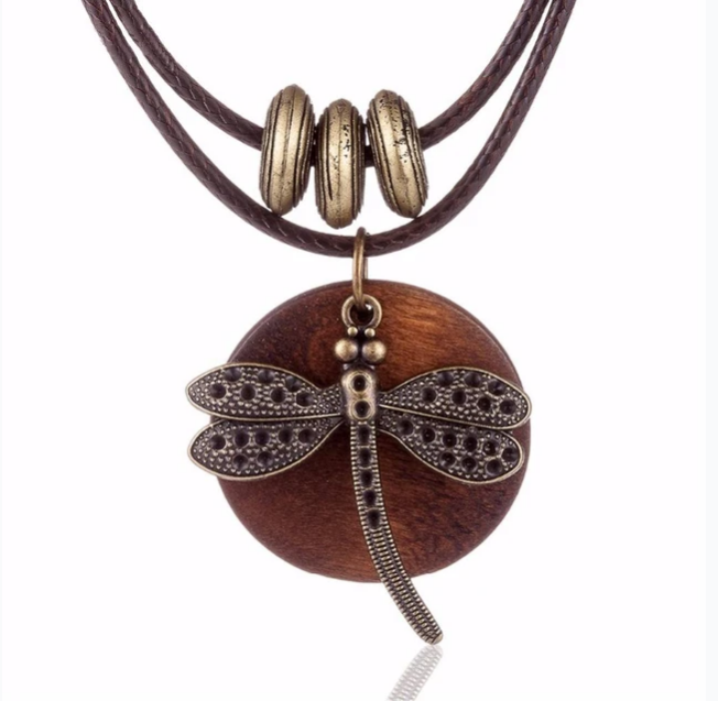 YLWHJJ Fashion Choker Woman Necklaces vintage Jewelry Dragonfly Wooden pendant Long necklace for women collares mujer kolye