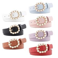 Women Artificial Pearl Decoration Belt Charm Ladies Round Pin Buckle Waistband