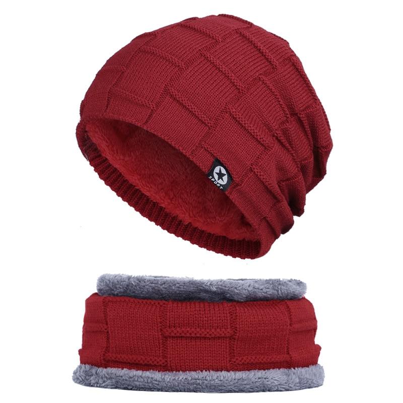 Зимняя мужская шапка с пятизвездочными звездами, шарф плюс бархатная мужская вязаная шапка, Теплая Лыжная маска, маска, головной платок, шапка, высококачественный хлопковый нагрудник, модная новинка - Цвет: Wine-1