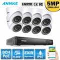 ANNKE 8CH FHD 5MP POE 네트워크 비디오 보안 시스템 4K H.265 + NVR 4X8X5 백만마력 EXIR 야간 투시경 WIFI IP 카메라