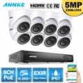 Anke 8CH FHD 5MP POE شبكة نظام الأمن الفيديو 4K H.265 + NVR مع 4X8X5 ميجابكسل EXIR للرؤية الليلية مانعة لتسرب الماء واي فاي كاميرا IP