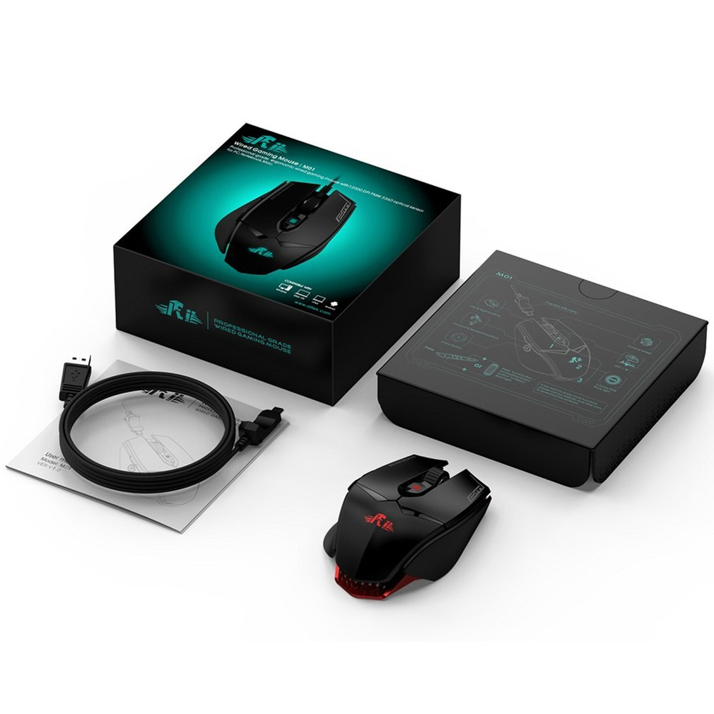 M01 Programmable Optical Gaming <font><b>Mouse</b></font> with <font><b>12000</b></font> <font><b>DPI</b></font> & RGB LED Backlight 7 Keys Wired USB <font><b>Mouse</b></font> for PC Desktop Computer image