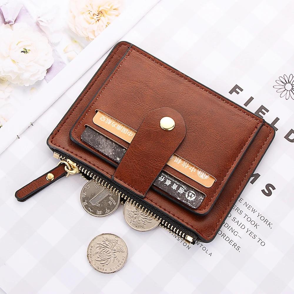 Unisex Men Women Leather Small Id Credit Card Wallet Holder Slim Pocket Case