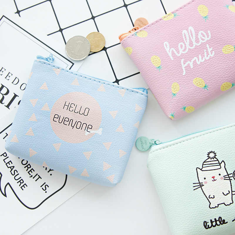 Purse Women's Mini Coin Bag Wallet Women's Short Fabric Coin Pocket PU Leather South Korea Cartoon Simple Korean-style