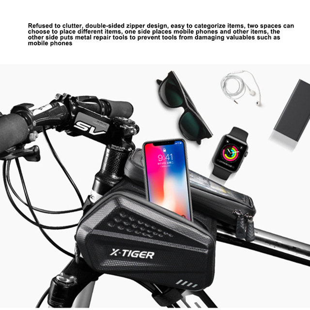 X TIGER Rainproof Bicycle Bag Bike Frame Bag Touchscreen Phone Case Cycling Bags MTB Bike Bicycle