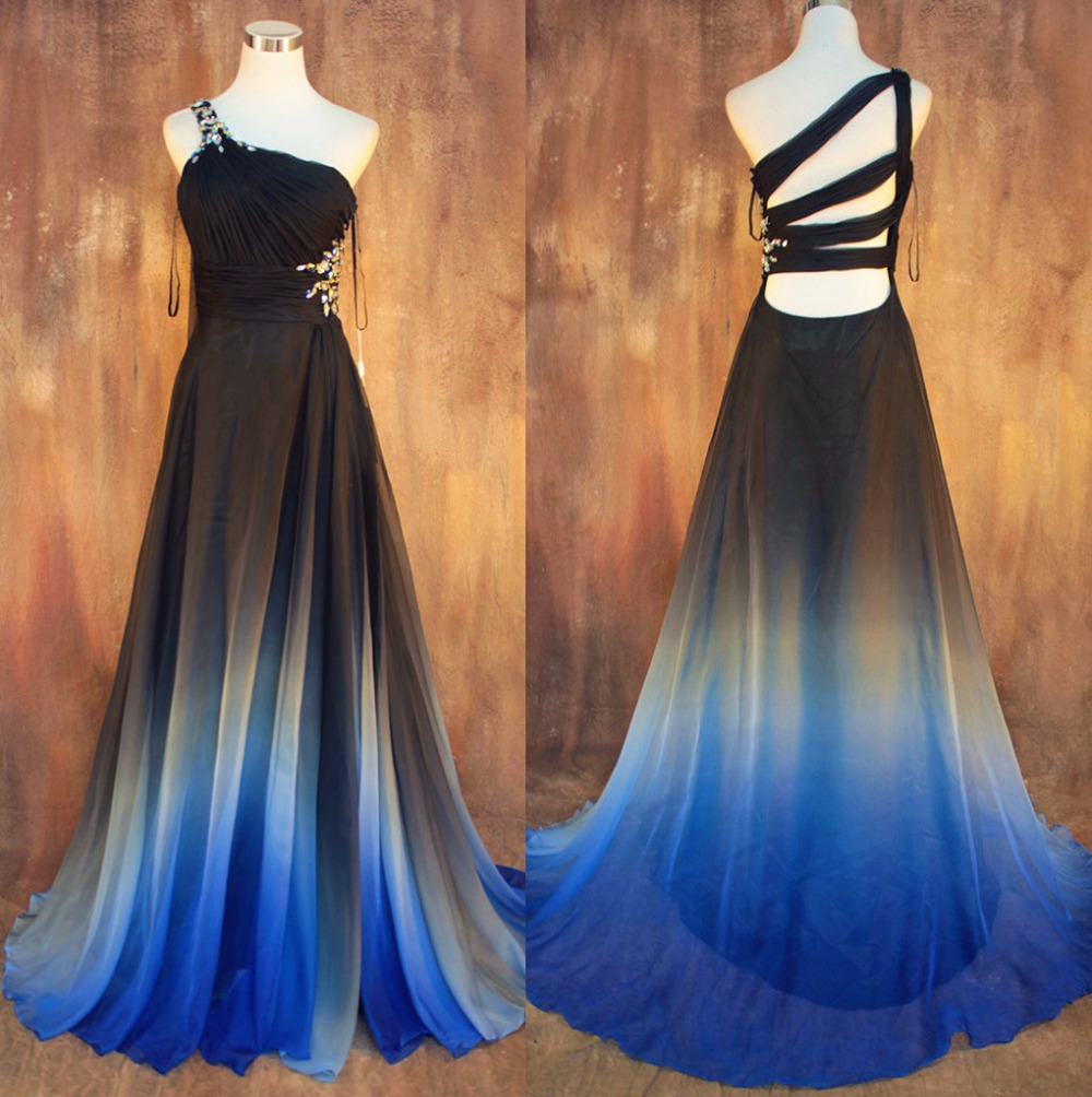 Vestidos New Gradient Ombre Chiffon Prom 2015 Sexy Backless Beading Evening One Shoulder Pleats Women Mother Of The Bride Dress