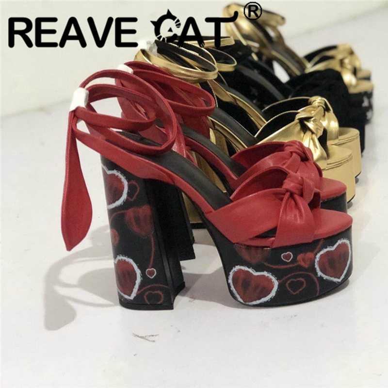 REAVE kedi yeni büyük boy 34-43 bayanlar yüksek topuklu platform sandaletler ayakkabı kadın parti pist gösterisi yaz lüks sandalet 2020 A2931