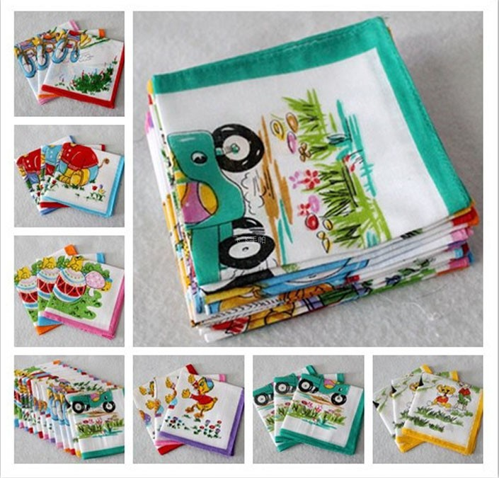 Children's Handkerchief Cotton Pocket Towel Child Handcuffs 10Pcs/Lot 25*25CM