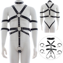 BDSM Bondage Leather Male Full Body Bondage Harness Chest Strap Rivet Collar Penis Ring Chastity Device Punk Rave Sexy Costume(China)