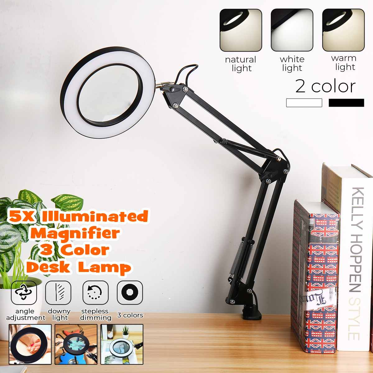 5X USB Magnifying Glass With LED Light Rotateble Flexible Table Clamp Third Hand Soldering/Reading/Jewelry Magnifier Desk Lamp