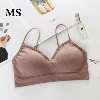 MS Sexy sans couture Super élastique fronde enveloppé respirant pousser sans anneau en acier soutien-gorge dames sous-vêtements CottonComfort2pieces