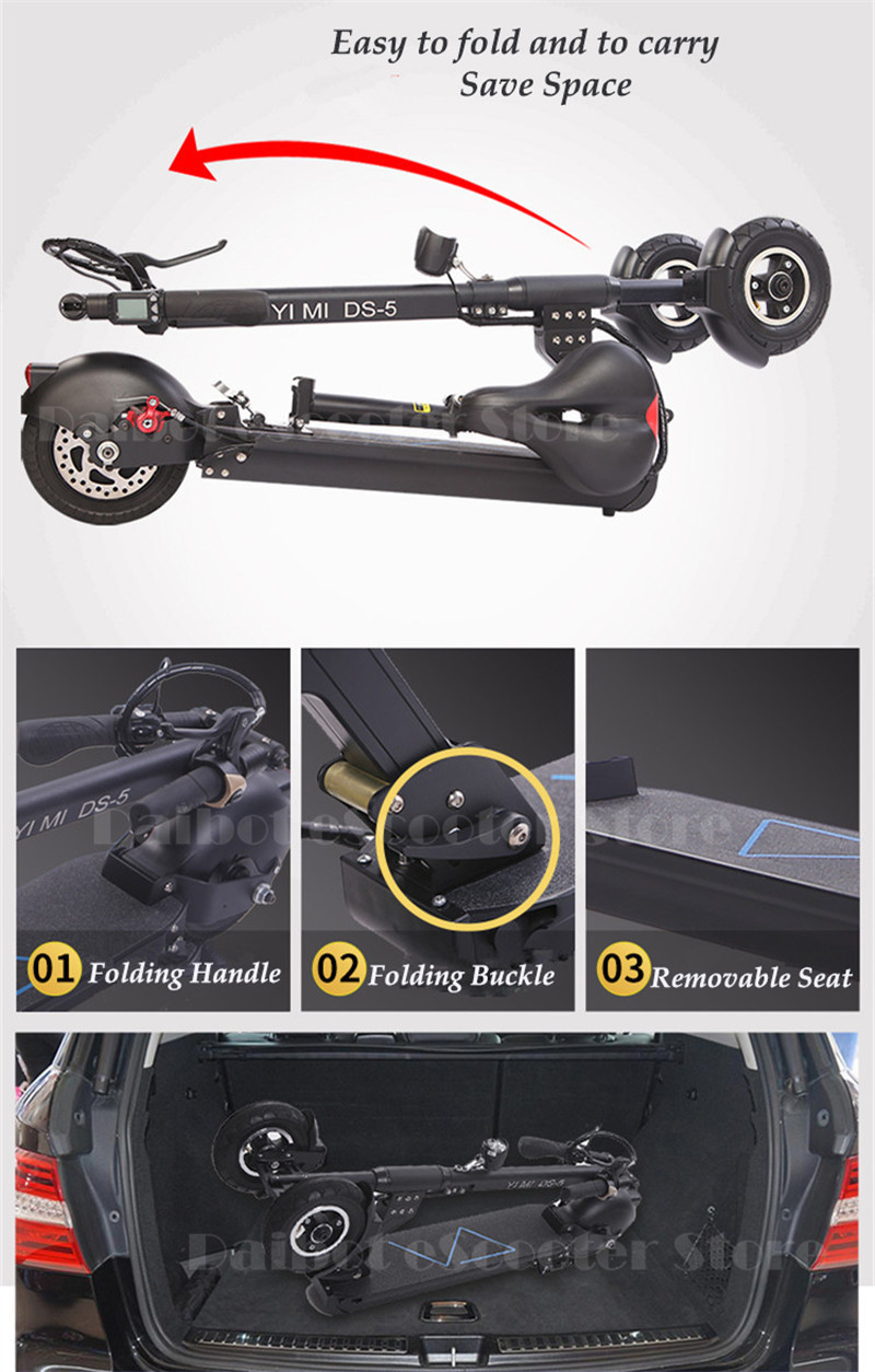 Daibot 3 Wheel Electric Scooter With Seat Electric Scooters 8 inch 400W 36V500W 48V Folding Electric Skateboard For Adults      (20)