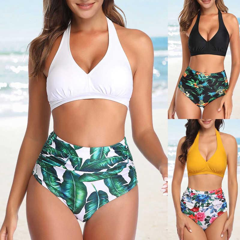 Hawaiian a Vita Alta Bikini Costume da Bagno Sexy Halter Body E Tutine 2 Pezzi Costume da Bagno Delle Donne Fibbia Bikini Set Plus Size Beach Costumi da Bagno