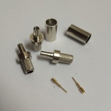 CRC9 erkek kıvrım RG58 LMR195 RG400 RG142 kablo RF koaksiyel konnektör altın kaplama Nickplated düz