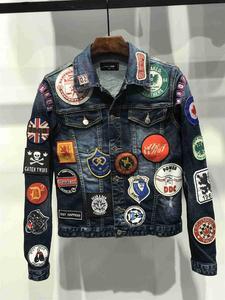 Новая мужская джинсовая куртка с длинным рукавом хлопковые джинсы Кардиган Повседневная dsq куртка Мужские топы Одежда